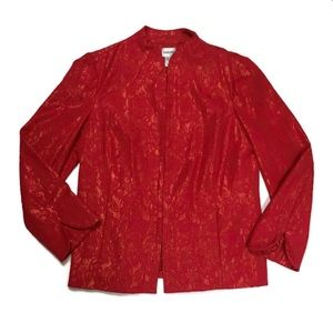 Chico's Shimmering Blazer in Red and Gold
